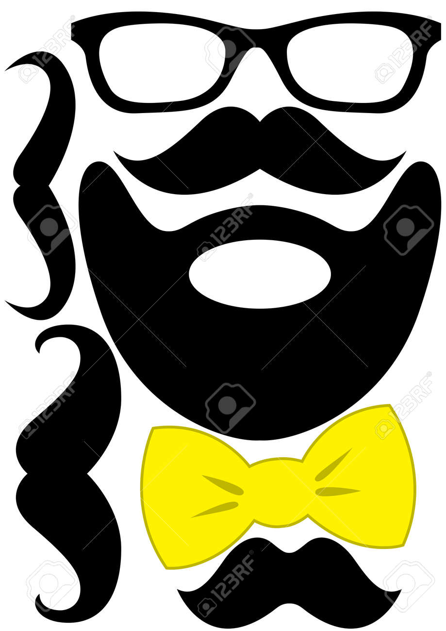 Party accessories set - glasses, mustache, bow Stock Photo - 92481335