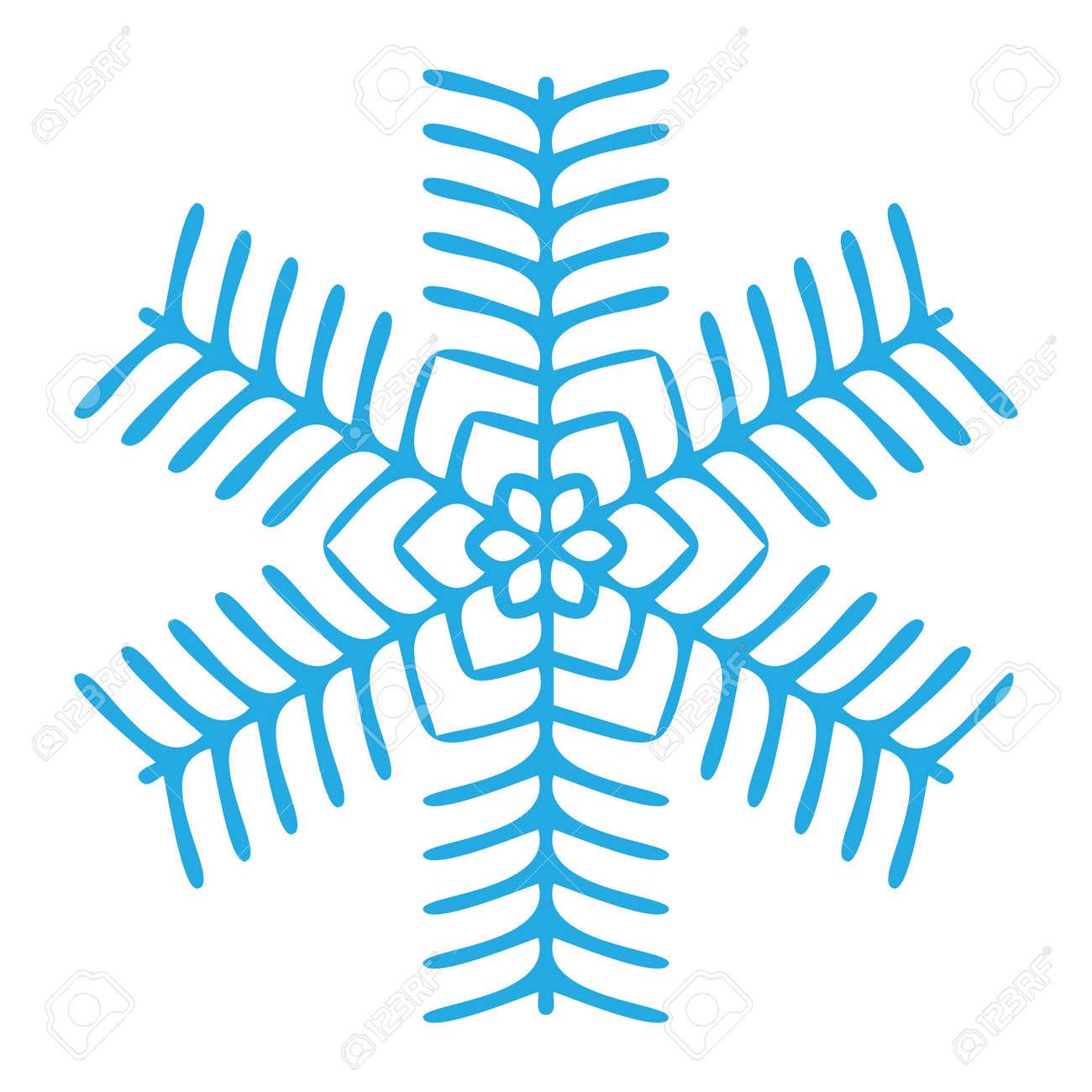 Snowflake winter blue symbol icon. Vector illustration graphic design Stock Photo - 92433446