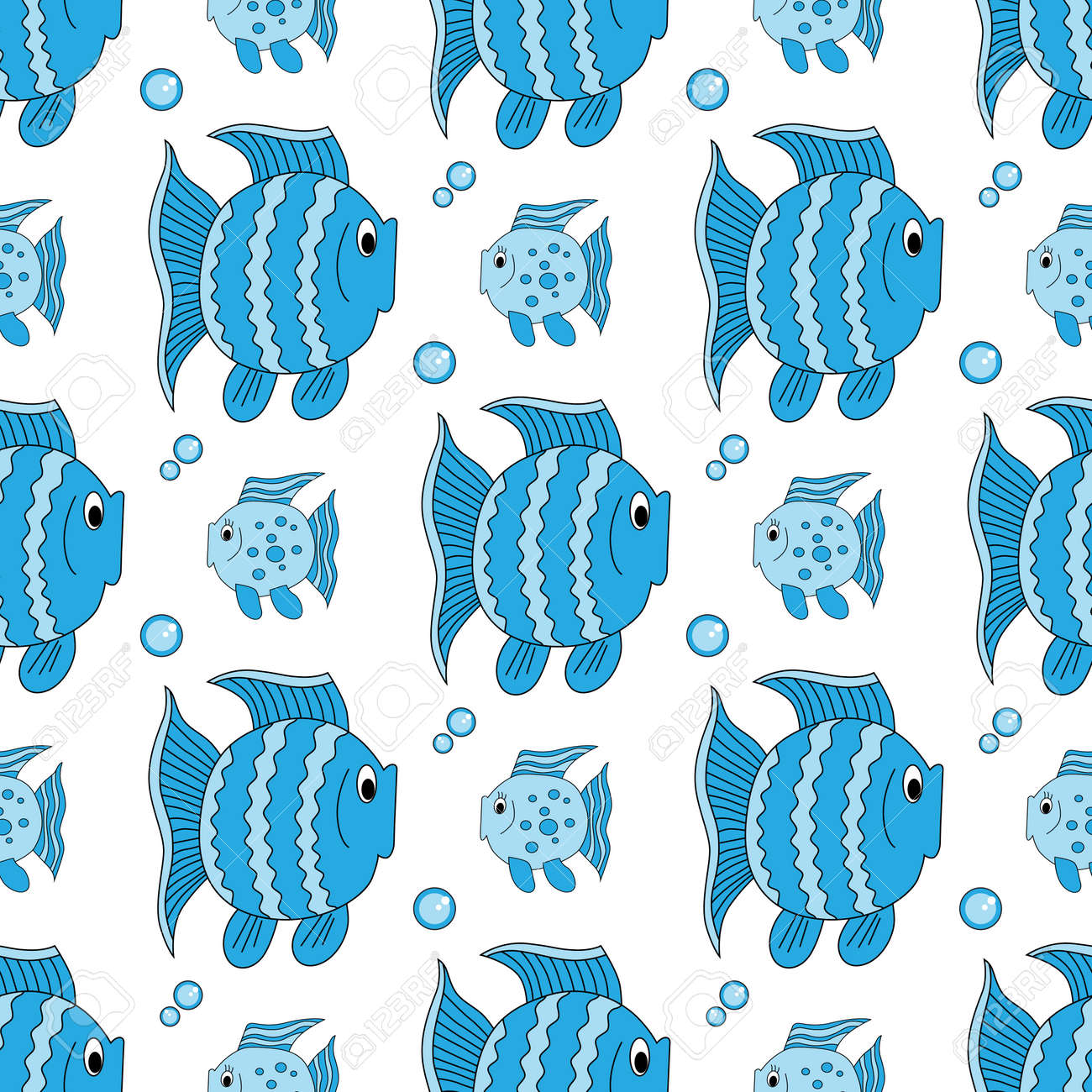 Blue funny fish pattern. Stock Vector - 92294977
