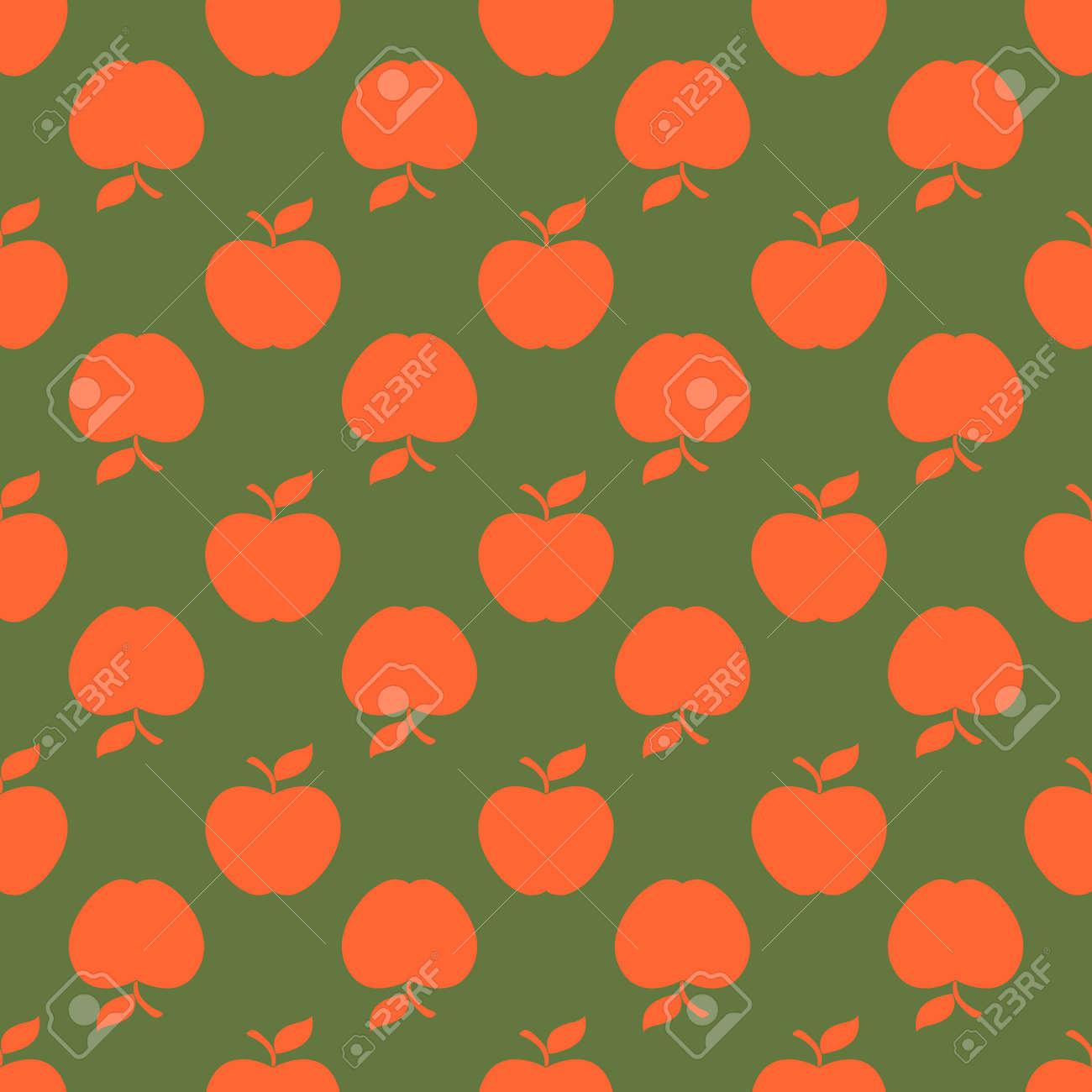 Apple green orange seamless pattern background. Vector illustration. Stock Vector - 92292469