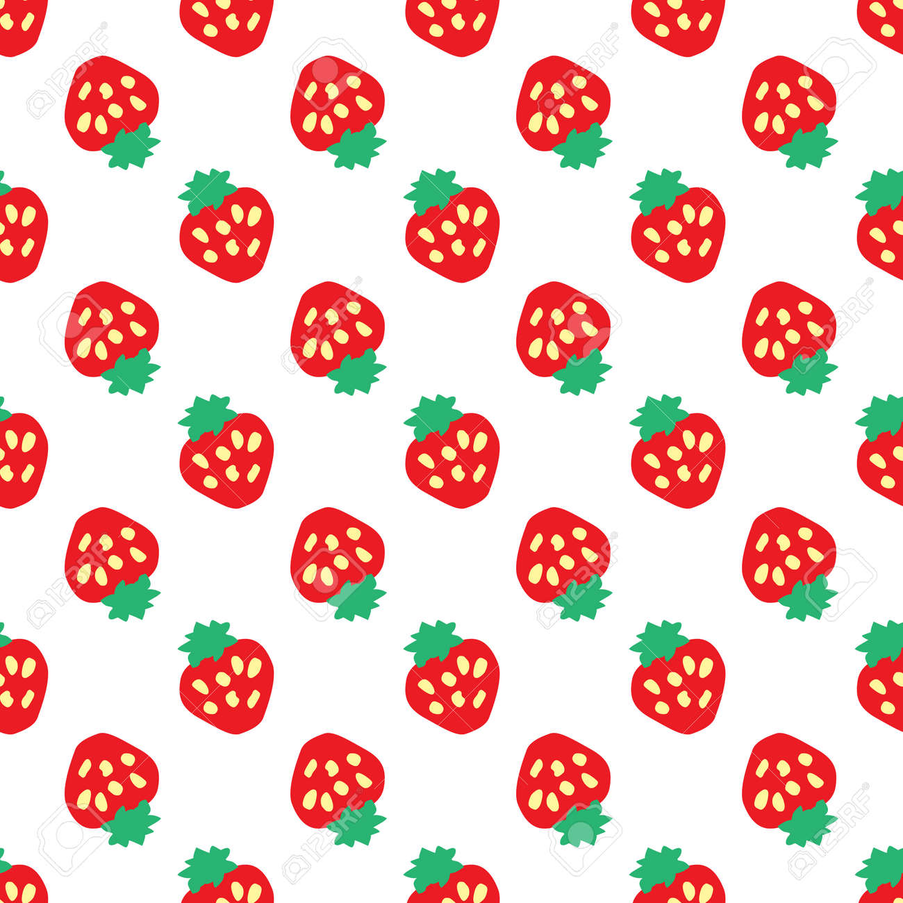 Abstract seamless white strawberry background. Vector illustration Stock Vector - 92742224