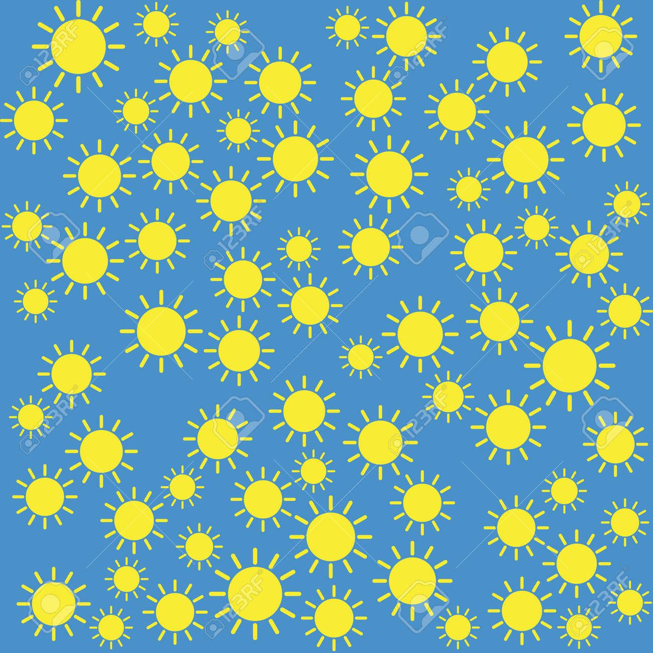 Yellow sun pattern on blue background. Stock Vector - 92884528