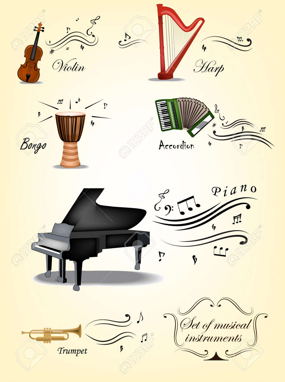 Vintage set of music instruments and elements Stock Vector - 16732831