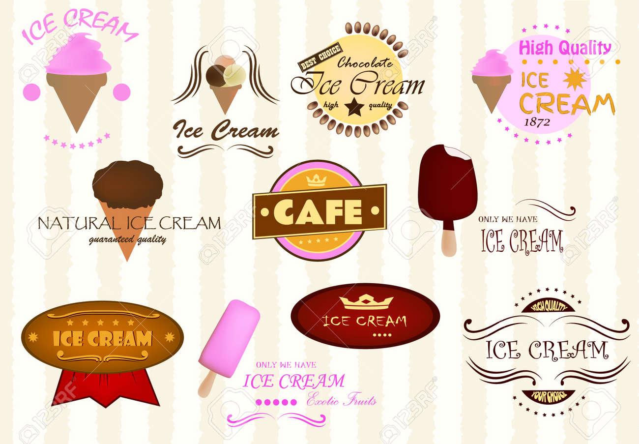 Labels of ice cream Stock Vector - 16879341