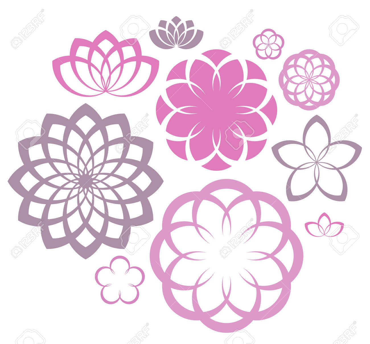Flower icon set royalty free cliparts vectors and stock flower icon set stock vector 33094319 dhlflorist Images
