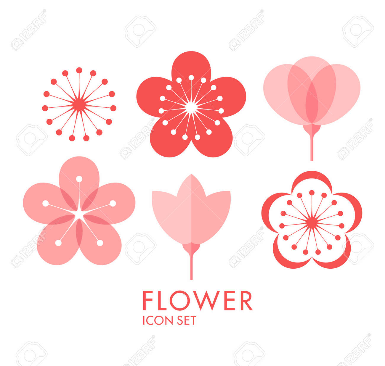 Flower icon set sakura royalty free cliparts vectors and stock flower icon set sakura stock vector 37072724 dhlflorist Images