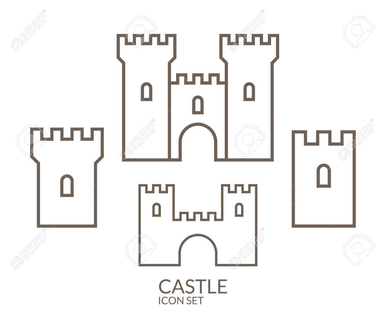 Castle Icon Set Outline Royalty Free Cliparts Vectors And Stock