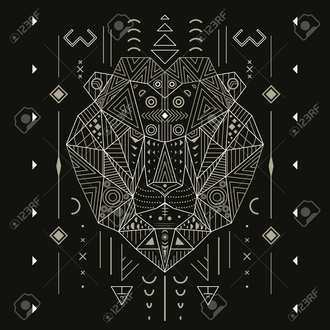 Abstract lion ornament ethnic vector illustration, tribal, tattoo, animal, art, stencil, design isolated on black background line art - 55832591