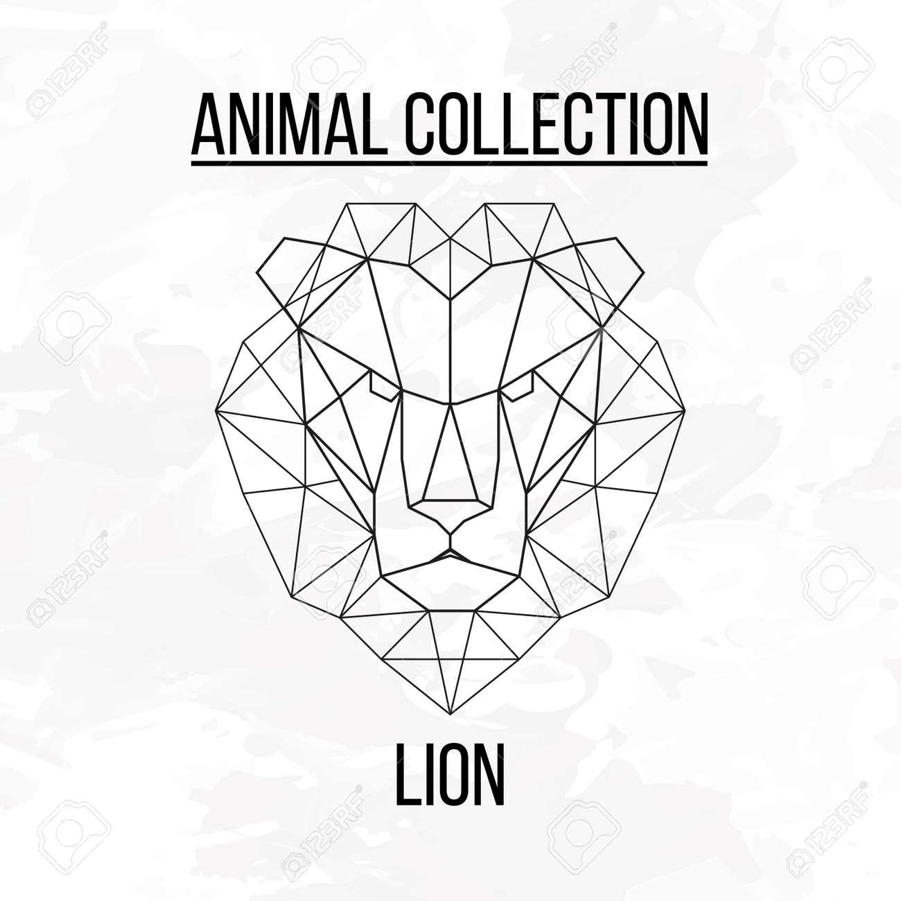 Animale Géométrique Tête De Lion Fond Clip Art Libres De Droits
