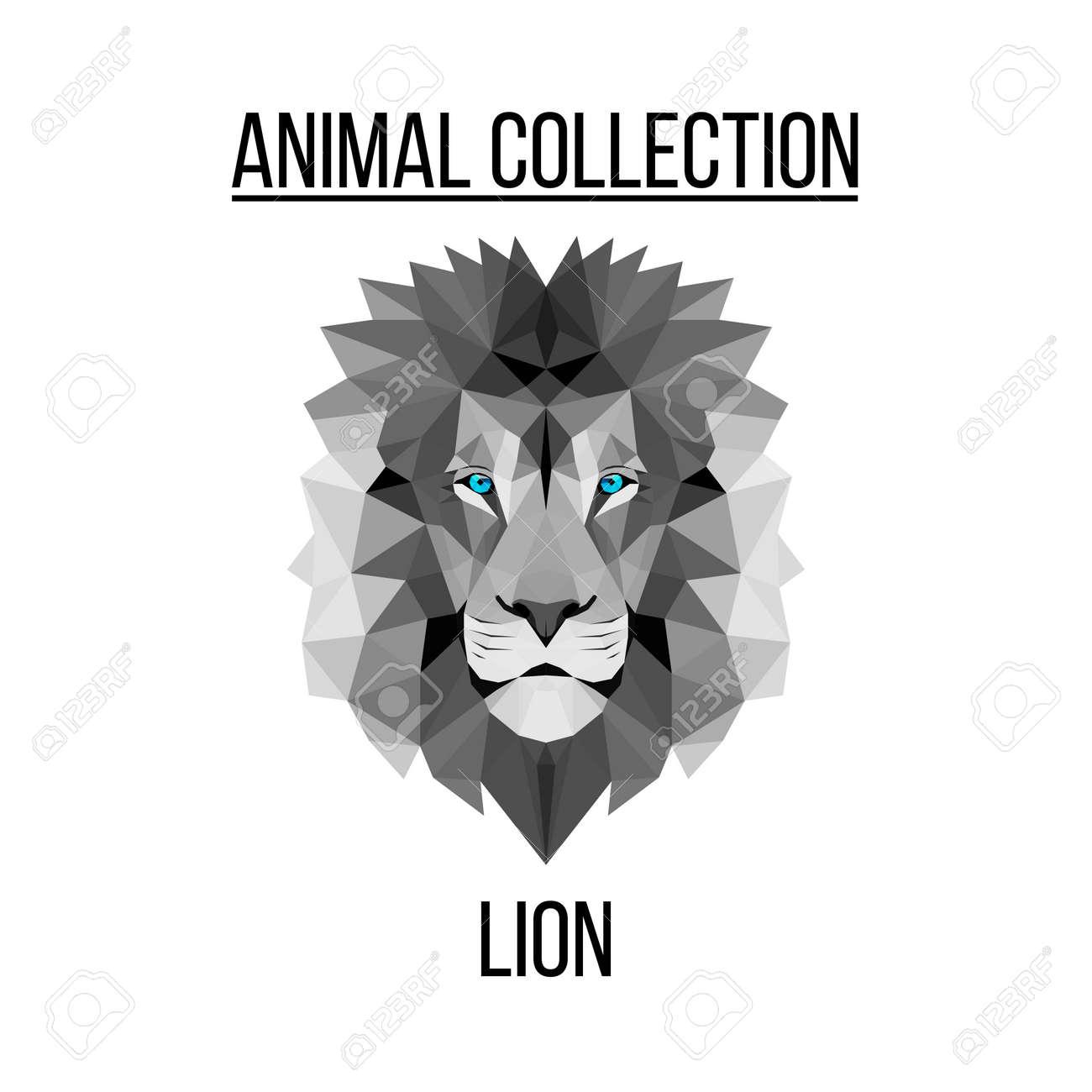 Fond De Tête De Lion Géométrique Vecteur Animaux Bleu Banque D