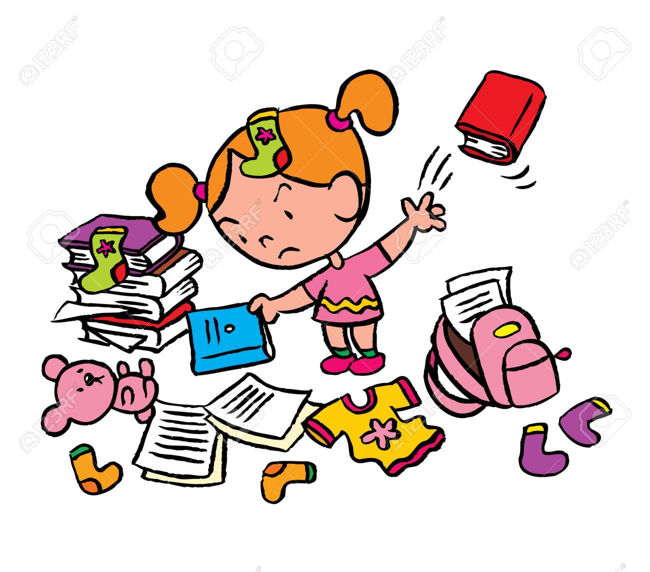 Little Schoolgirl In A Messy Room