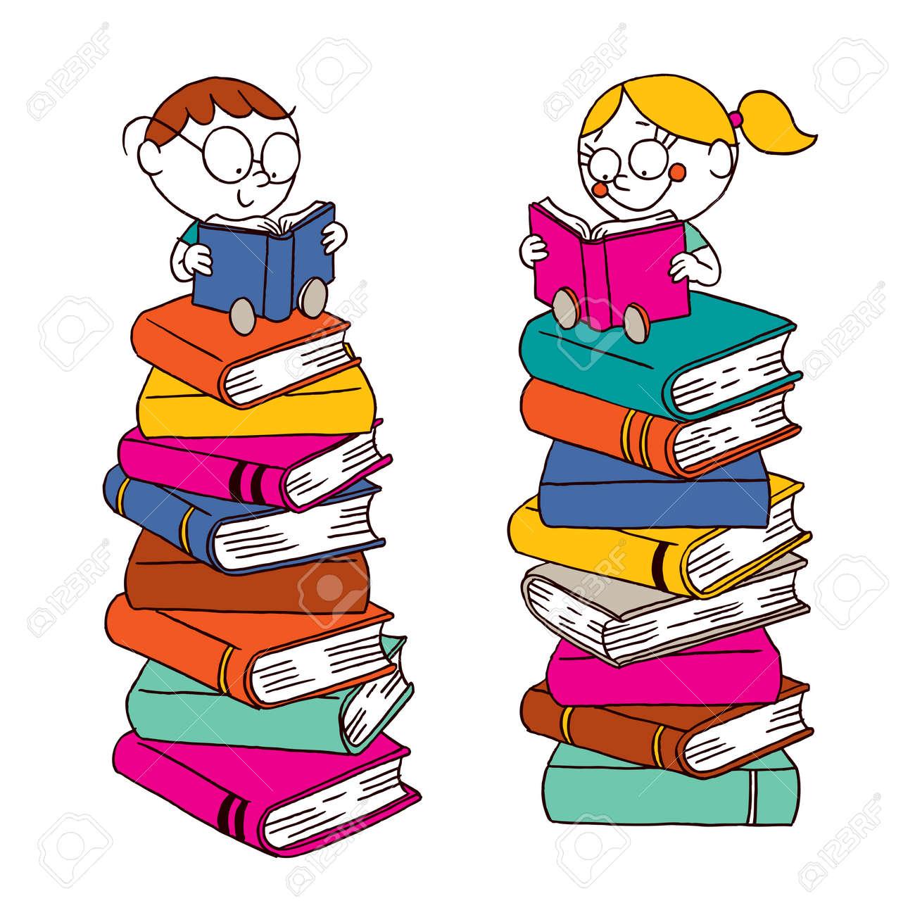 Bücherstapel clipart  Kinder Lesen Auf Einem Großen Stapel Der Bücher Lizenzfrei ...