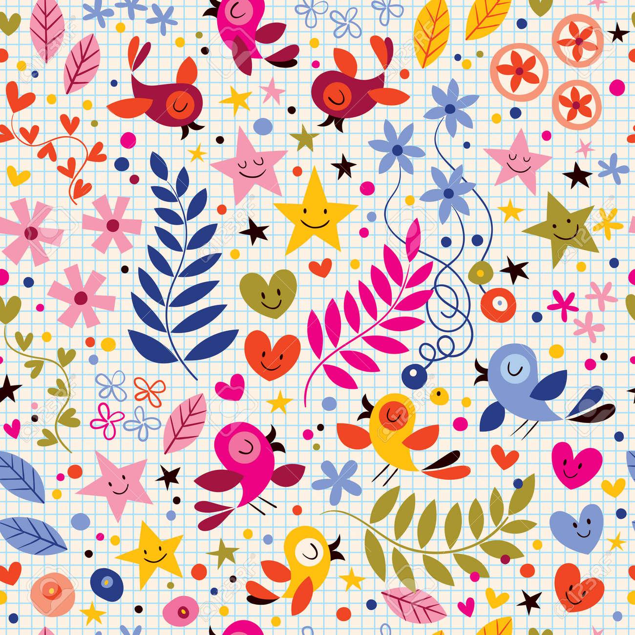 Lindo Pájaros Flores Estrellas Y Corazones Patrón Ilustraciones