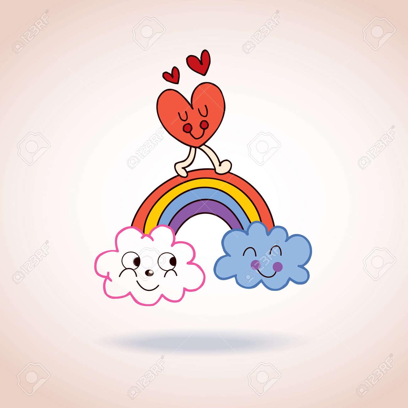 雲虹とハートのかわいいキャラクター イラストのイラスト素材ベクタ