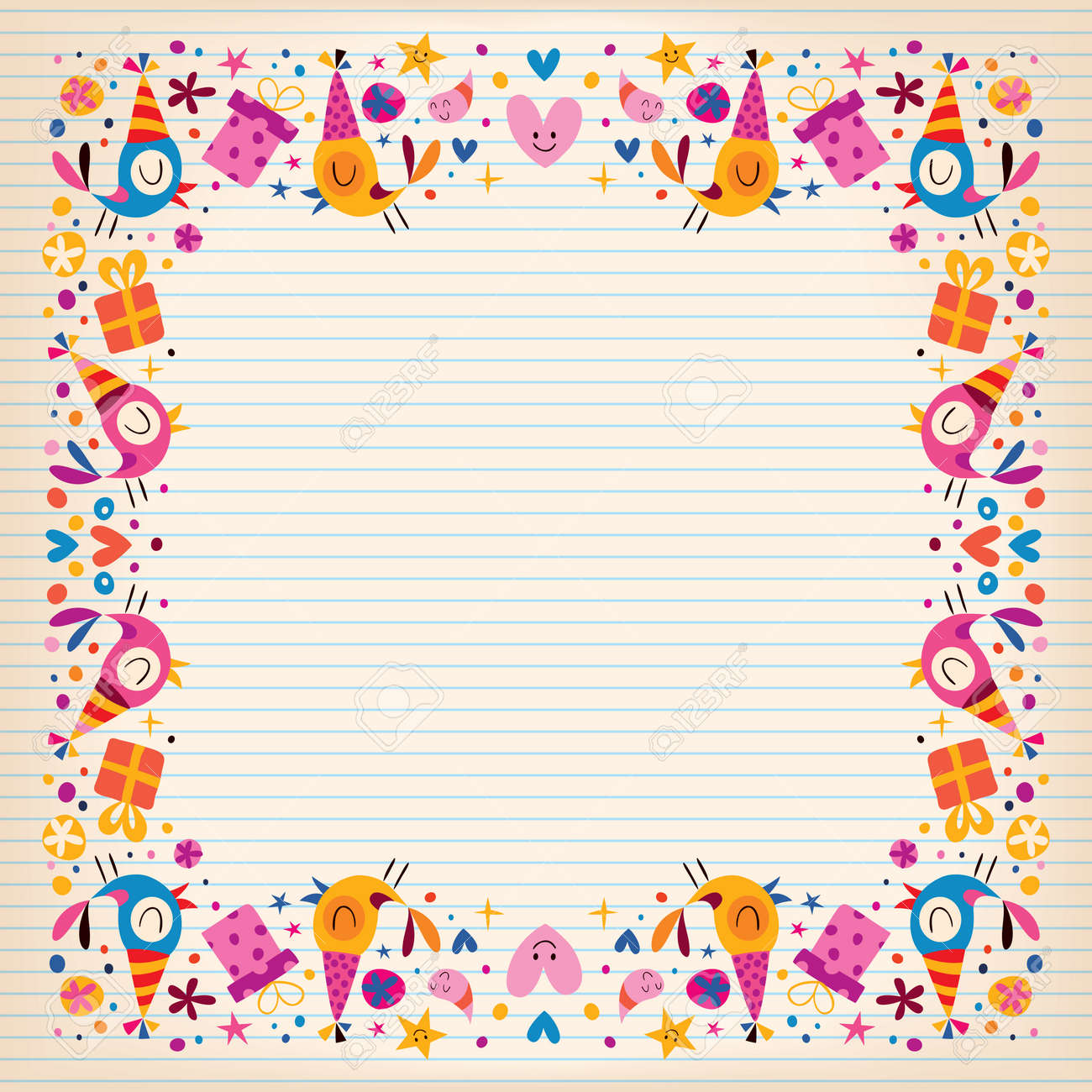 happy birthday border lined paper card with space for text royalty
