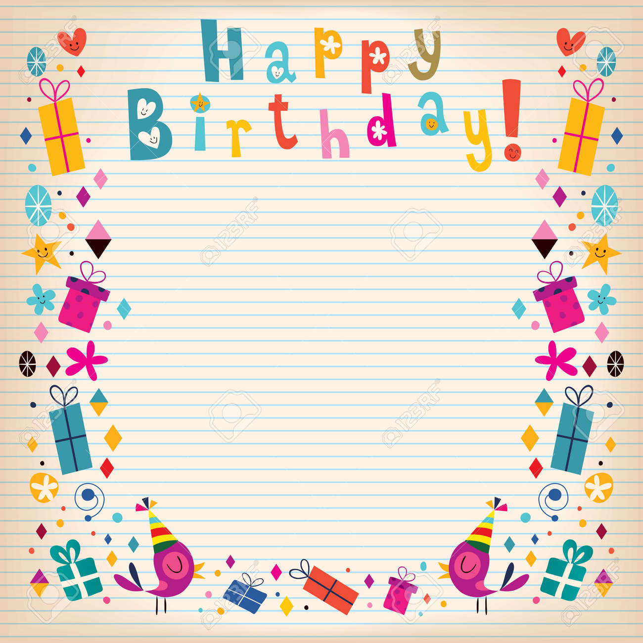 happy birthday border lined paper retro card royalty free cliparts