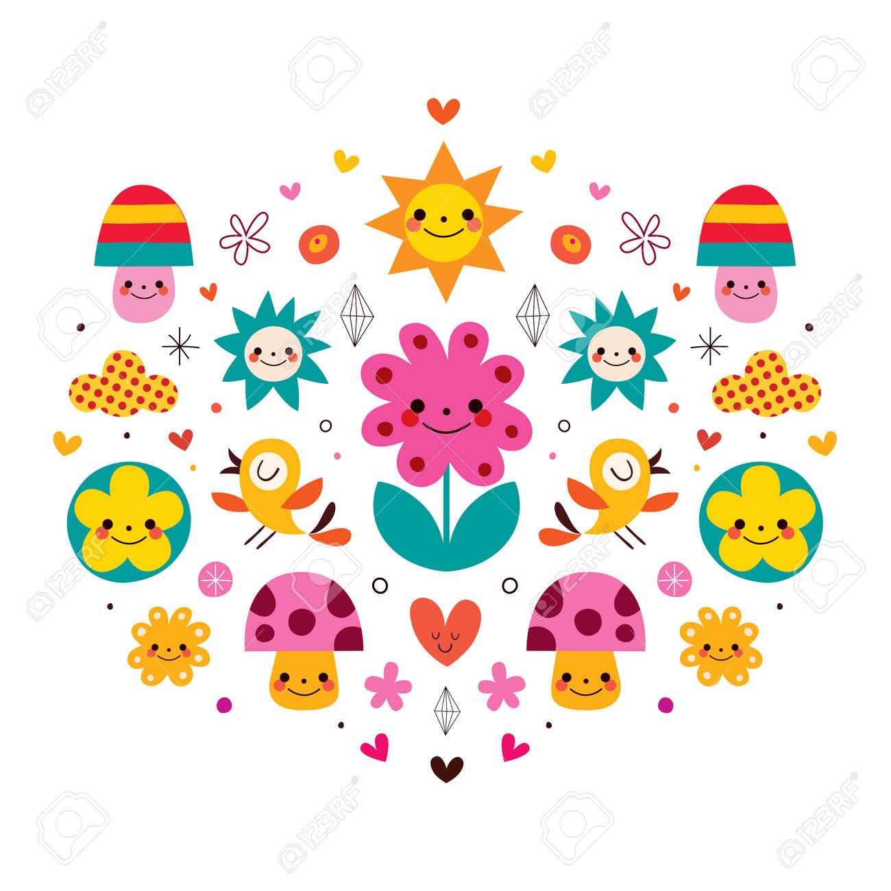 かわいい漫画のきのこ花ハート 鳥自然のイラストのイラスト素材