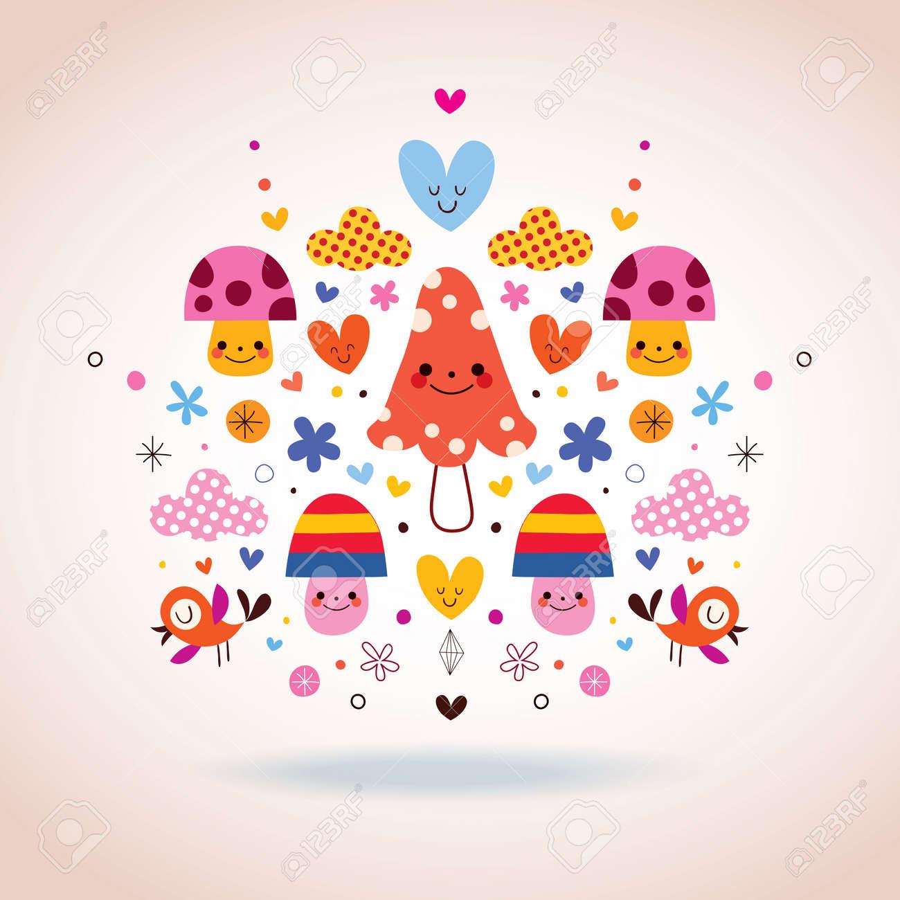 かわいいきのこ花ハート 鳥イラストのイラスト素材ベクタ