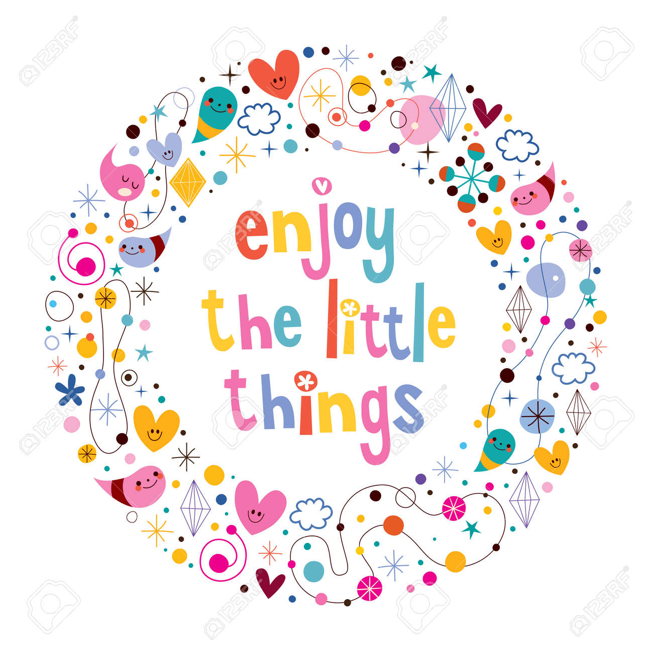 Enjoy The Little Things Quote Stock Vector   33378706