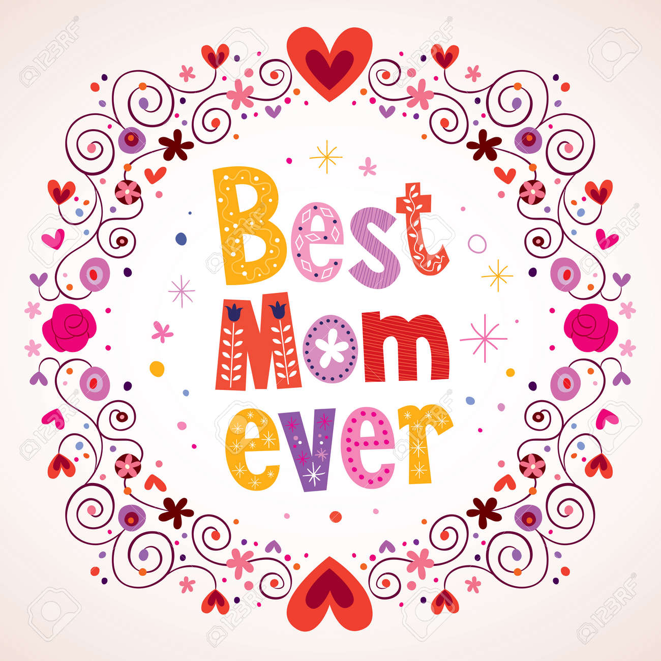 79f8d699d2 Best Mom Ever Hearts And Flowers Card Royalty Free Cliparts, Vectors ...