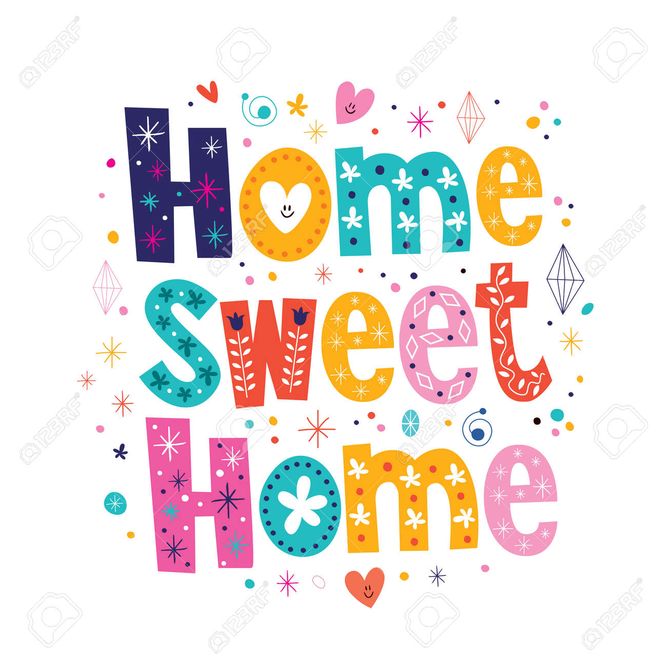 Home Sweet Home Typography Lettering Decorative Text Stock Vector   33388849