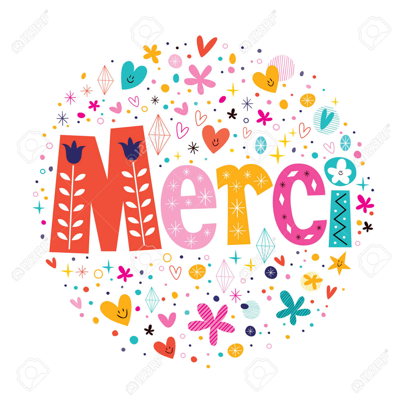 Word Merci Thanks in French typography lettering decorative text card - 33389763