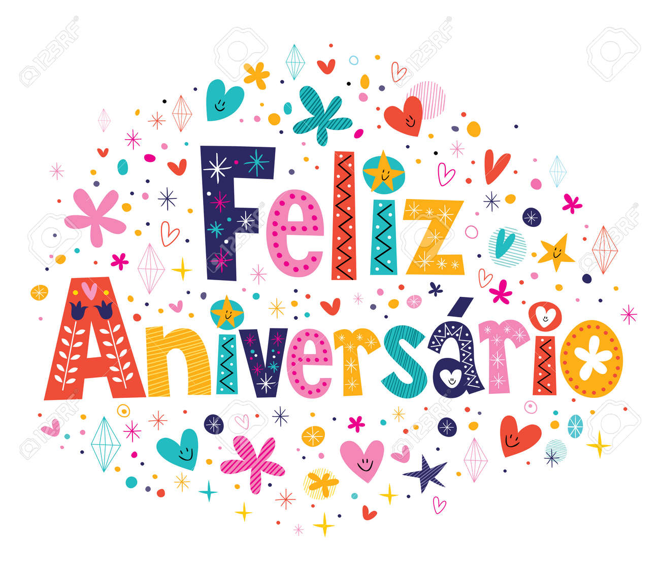Feliz Aniversario Portuguese Happy Birthday Card Royalty Free Cliparts Vectors And Stock Illustration Image 33669625