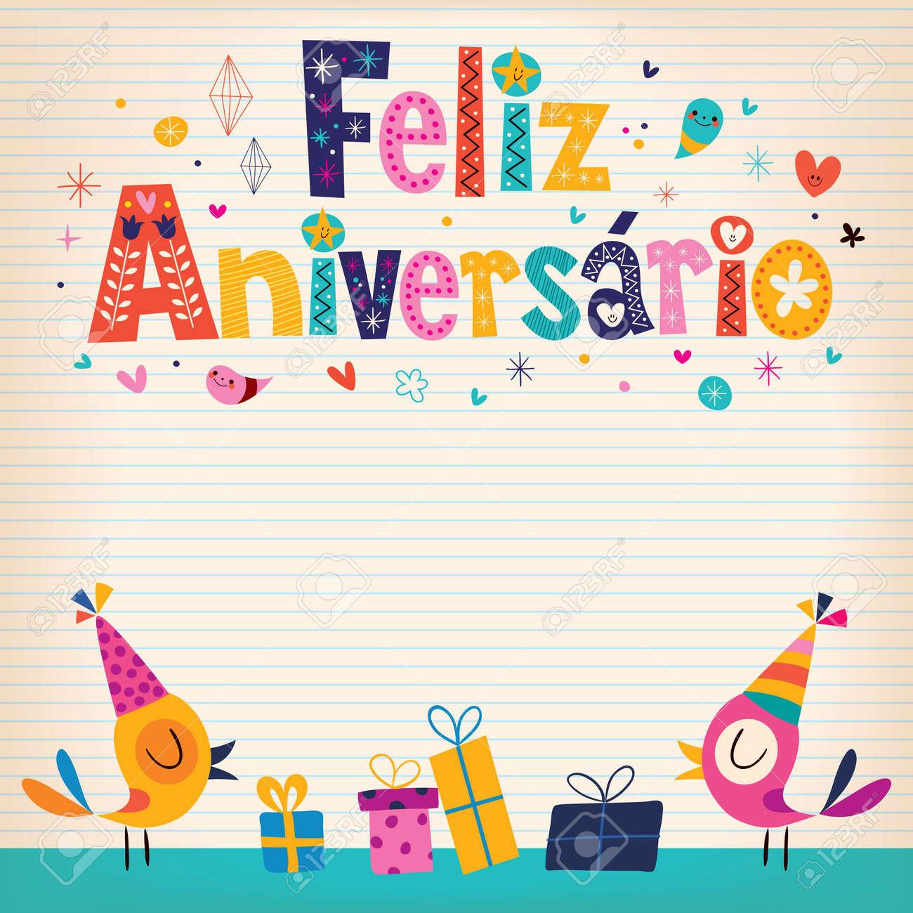 Feliz Aniversario Portuguese Happy Birthday Card Royalty Free