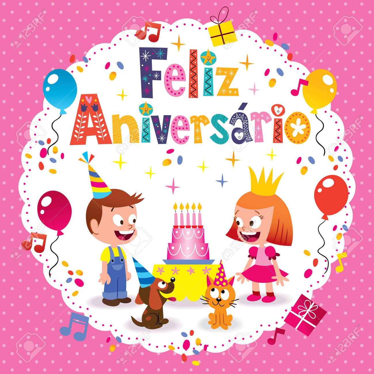 Feliz Aniversario Brazilian Portuguese Happy Birthday Kids Card Stock Vector