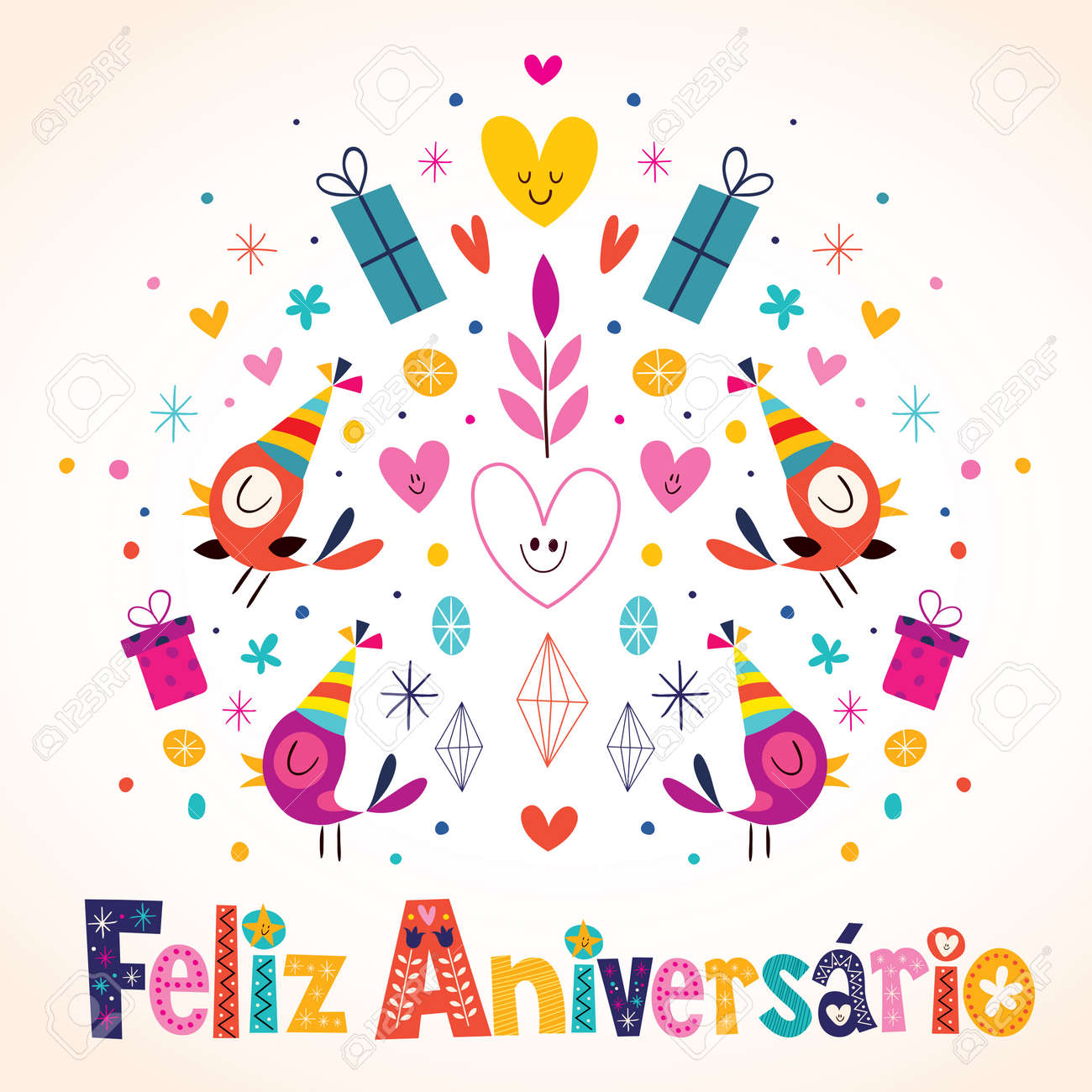 Feliz Aniversario Brazilian Portuguese Happy Birthday Card Royalty – Portuguese Birthday Cards