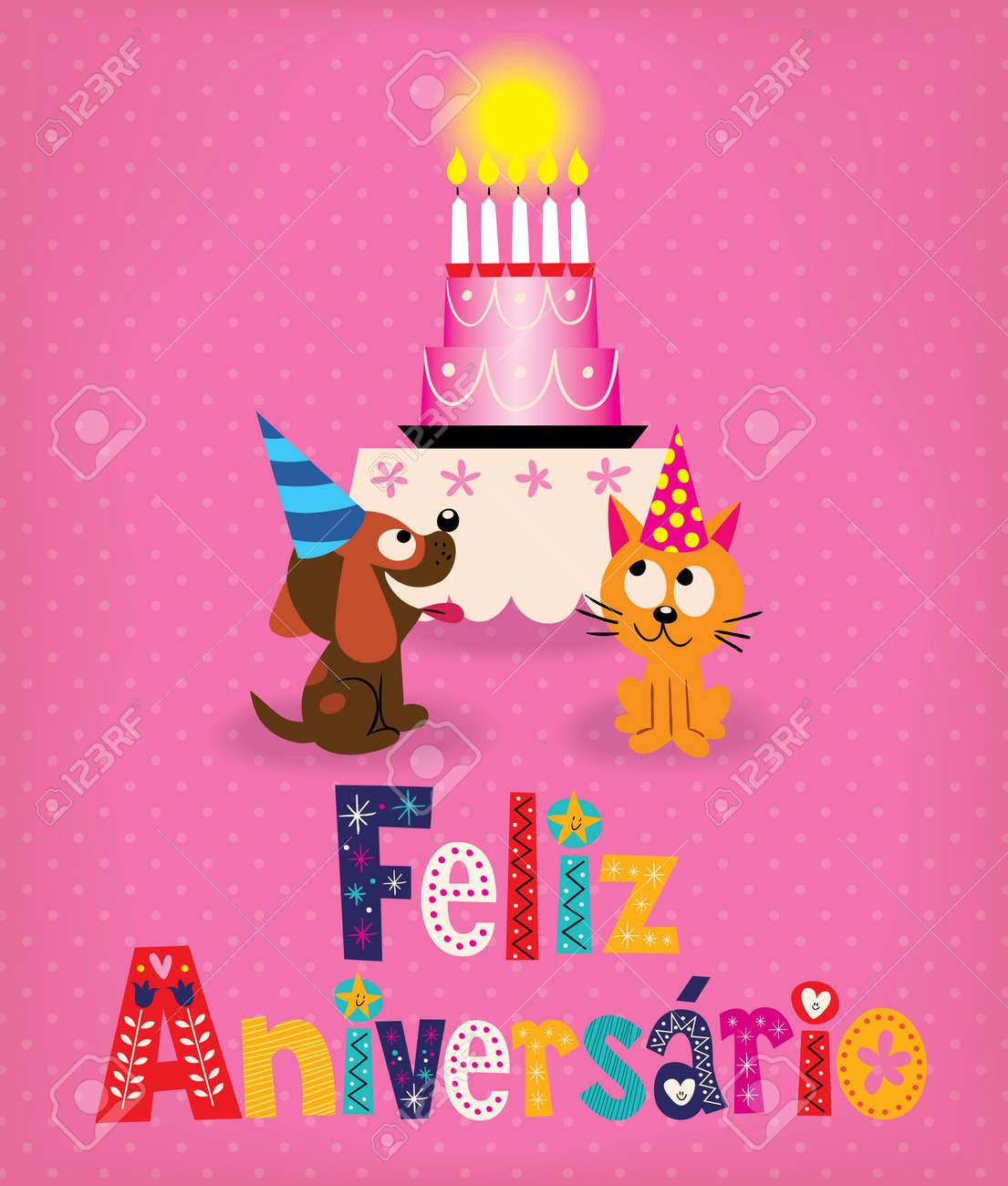 Feliz Aniversario Brazilian Portuguese Happy Birthday Retro Card – Portuguese Birthday Cards