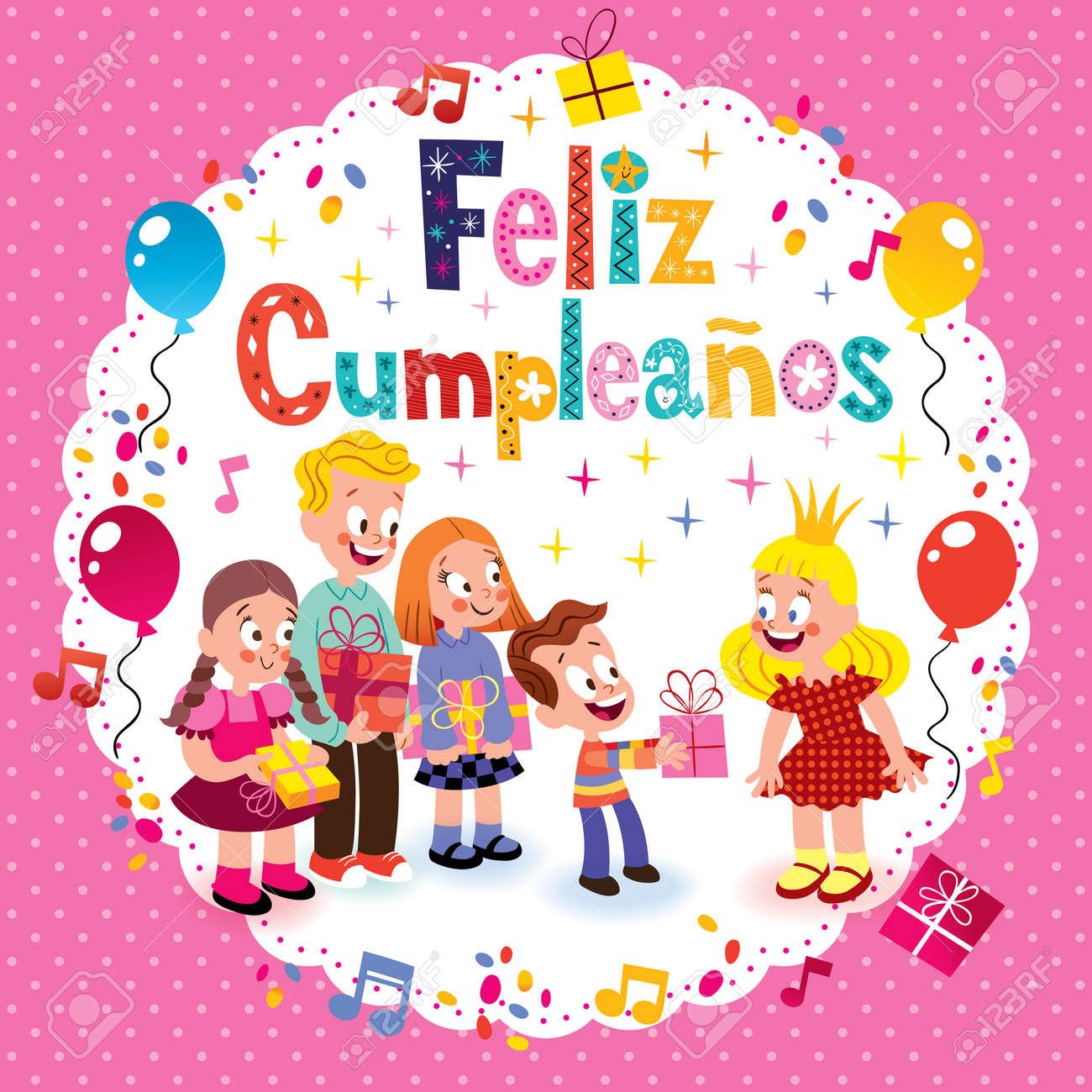 Feliz Cumpleanos Joyeux Anniversaire En Espagnol Carte Enfants