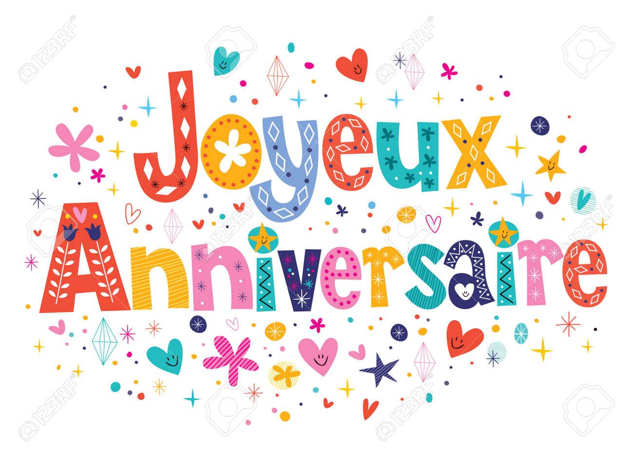 Joyeux Anniversaire Geburtstag In Franzosisch Dekorativen Schriftzug