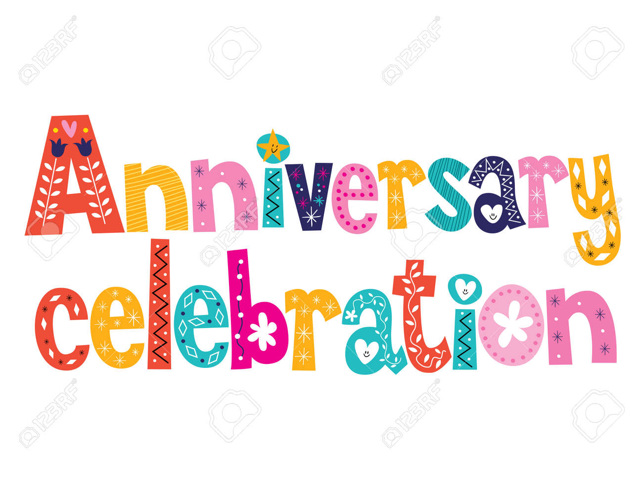 anniversary celebration decorative lettering text design stock photo 43072219