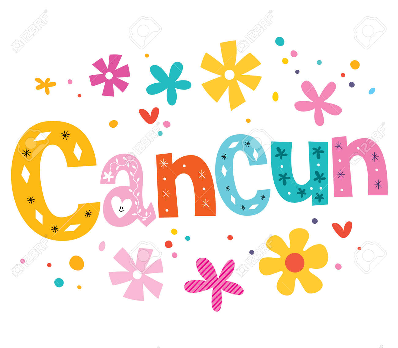 Cancun Mexico Vector Lettering Decorative Type Stock Photo Picture
