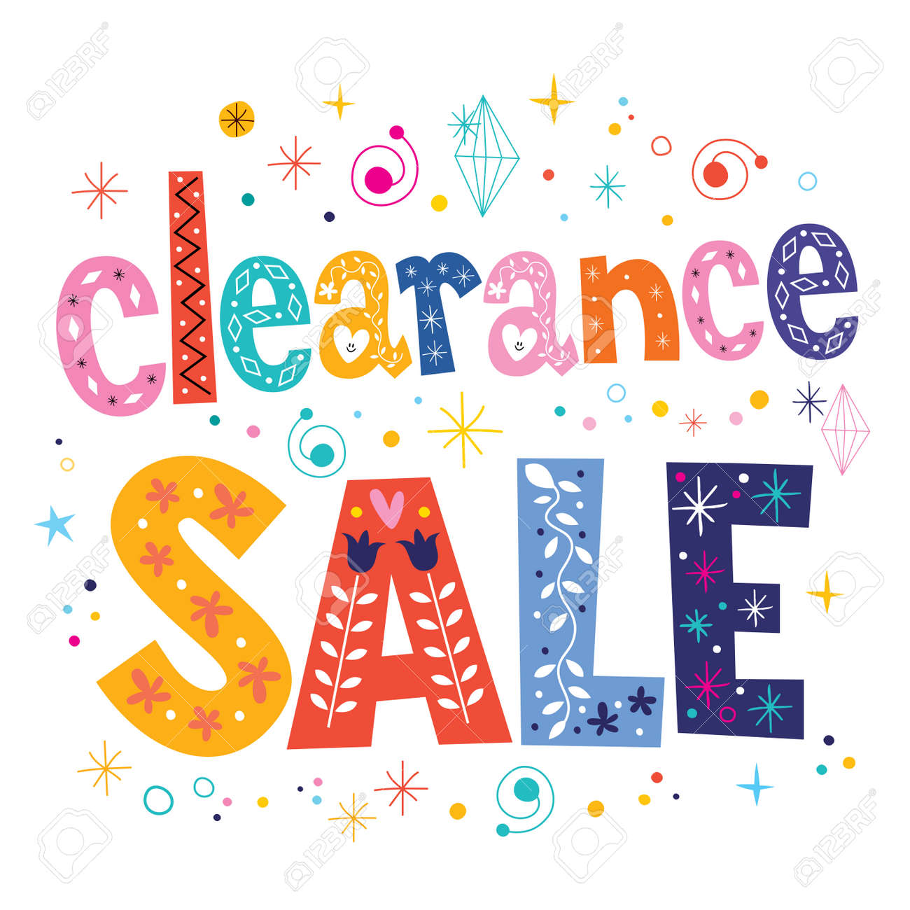 clearance sale decorative lettering type design Stock Photo - 54464576