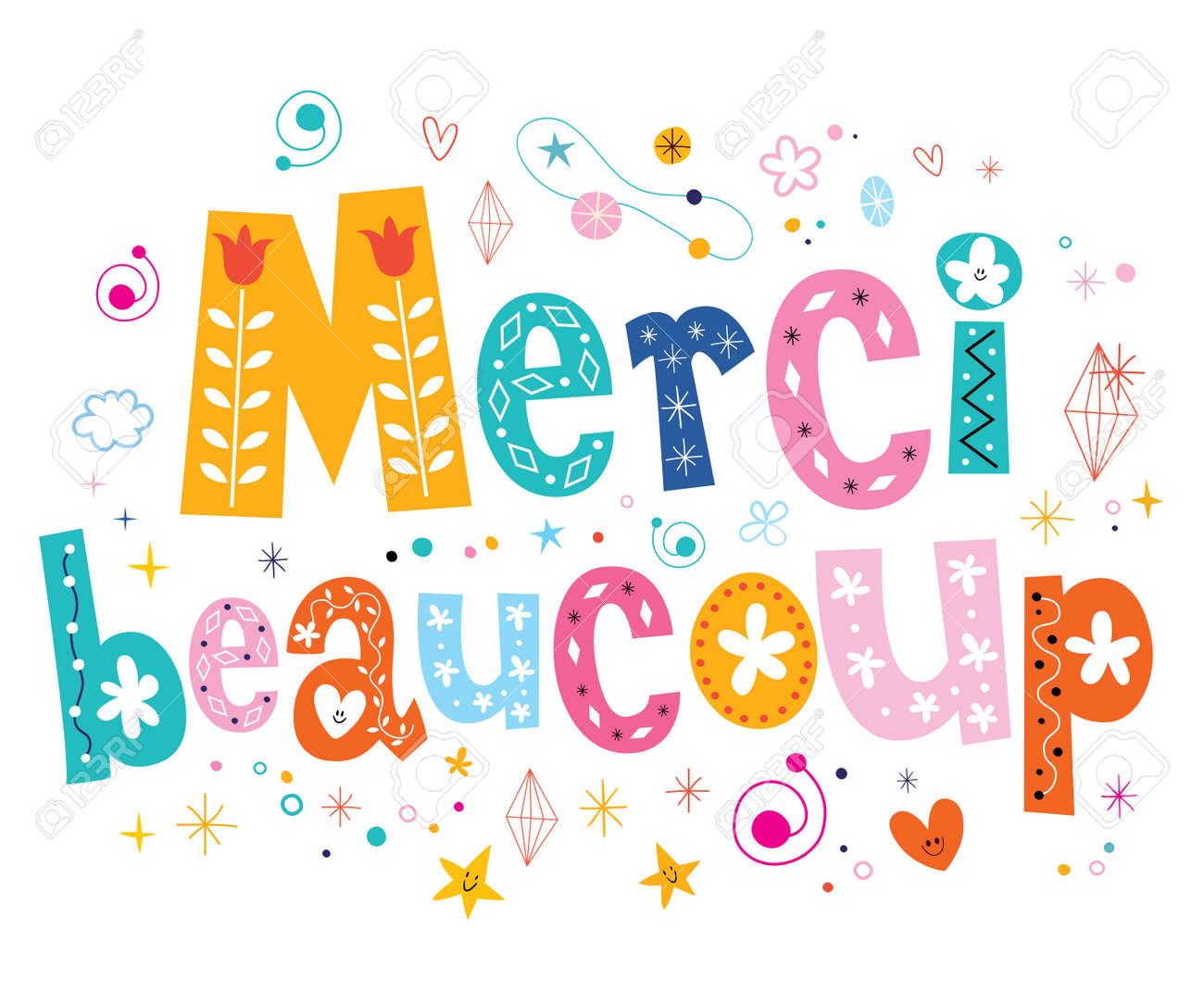 Merci beaucoup thank you very much in French lettering design - 53937365