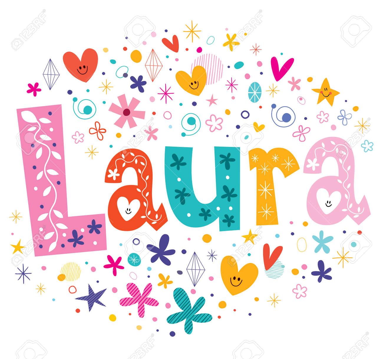 Laura girls name decorative lettering type design - 54719906