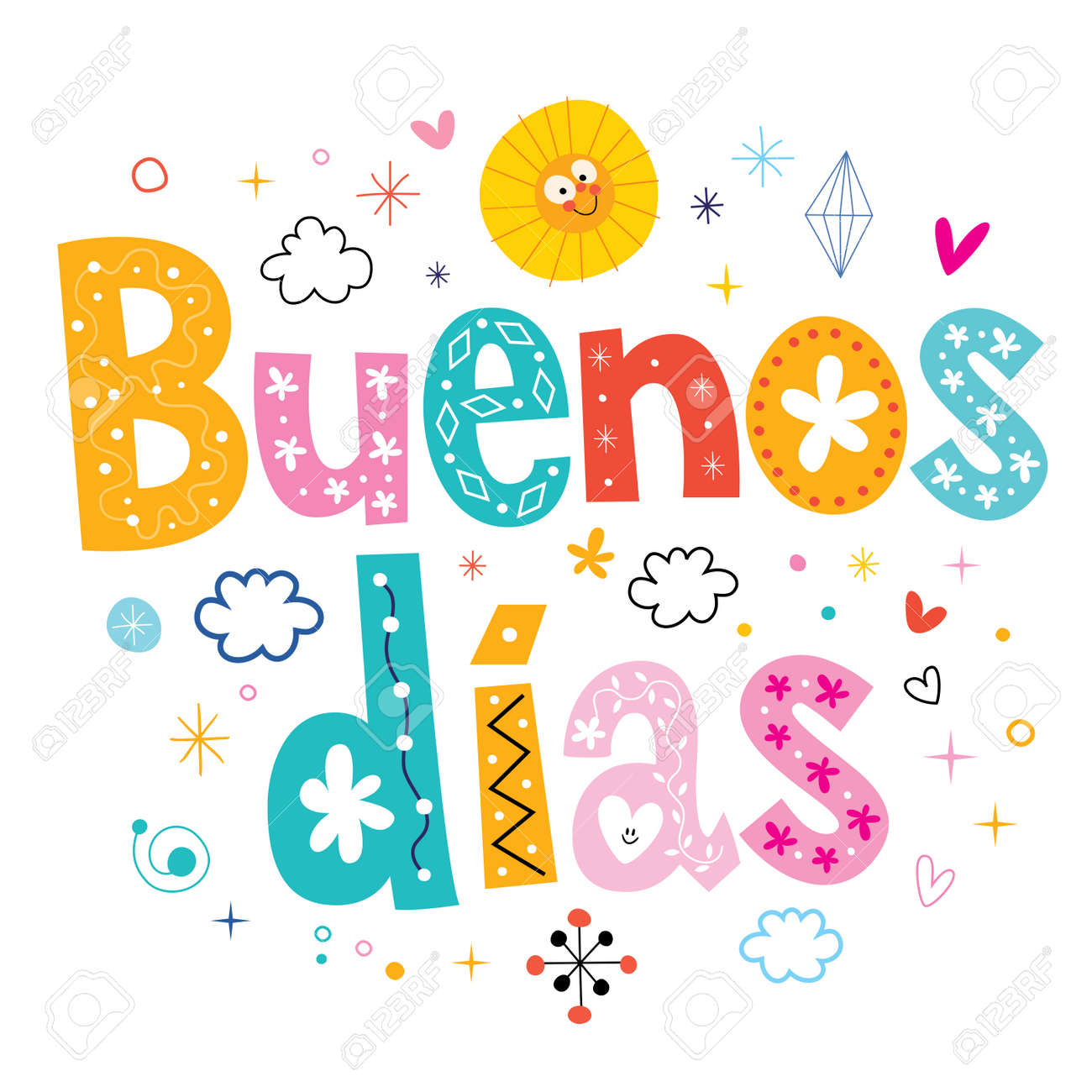buenos dias good day good morning in spanish royalty free cliparts