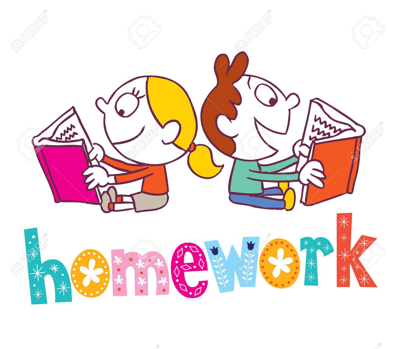 宿題 本を読む子供のイラスト素材ベクタ Image 54529600