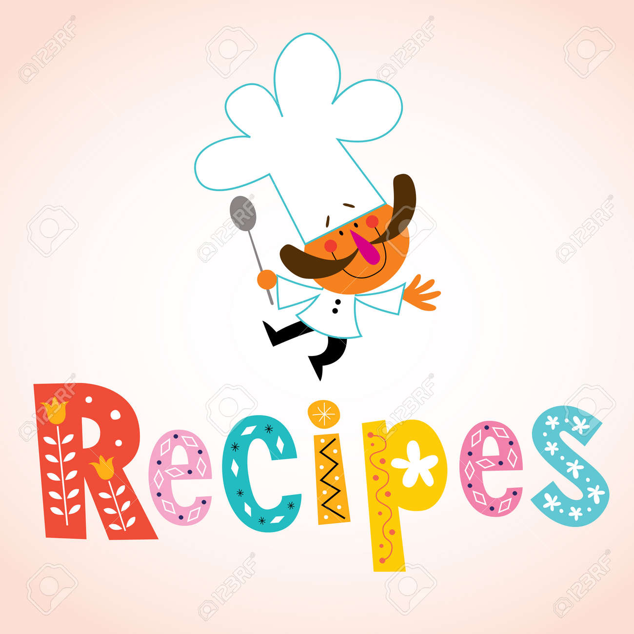 Recipes decorative lettering with chef character