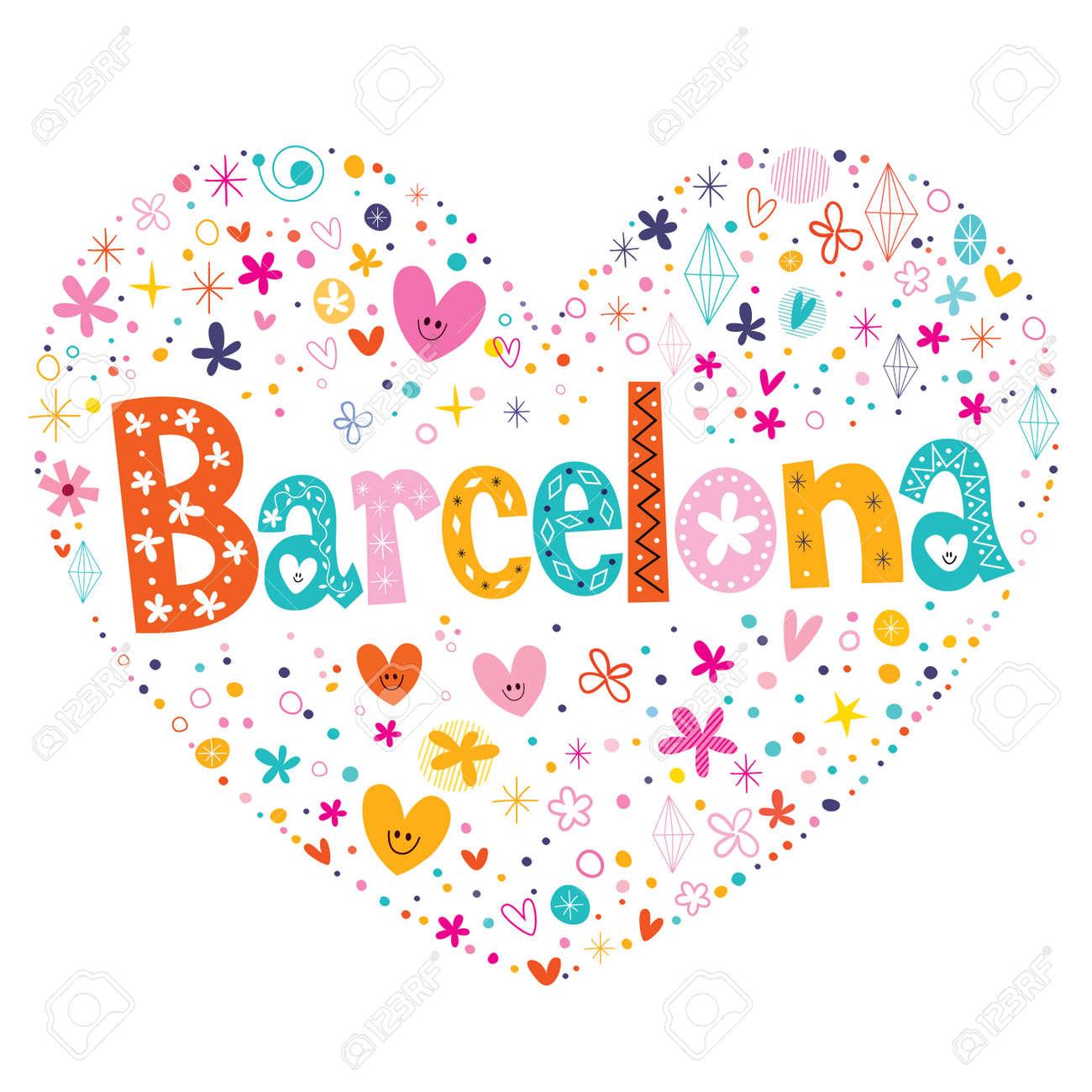 Barcelona Tipo De Corazón En Forma De Diseño De Letras Del Vector