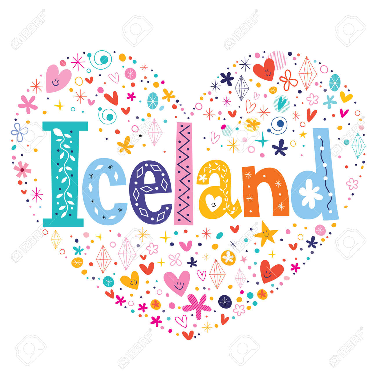 iceland decorative lettering heart shaped design stock vector 58850664