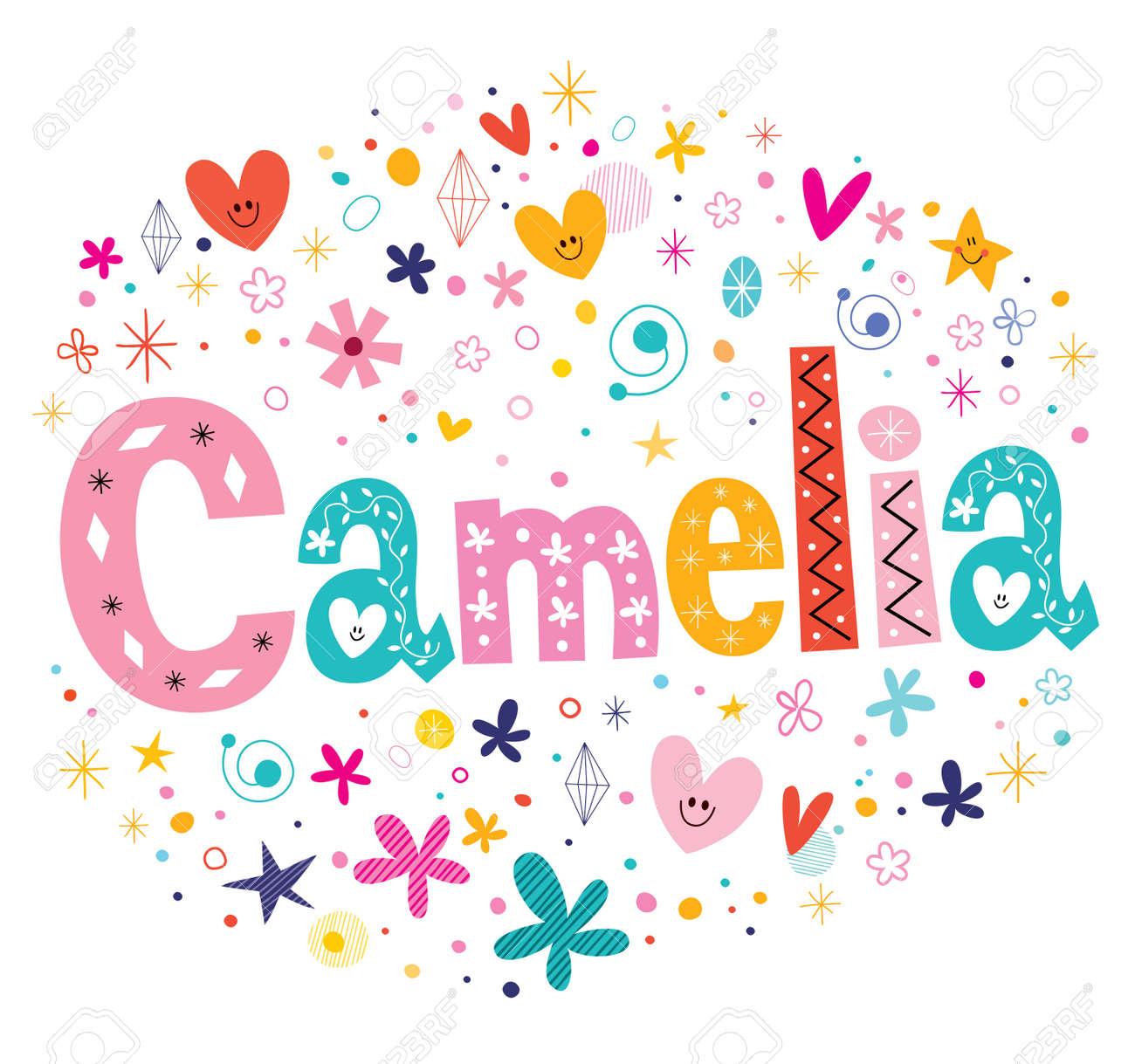 camelia girls name decorative lettering type design stock vector 57142395