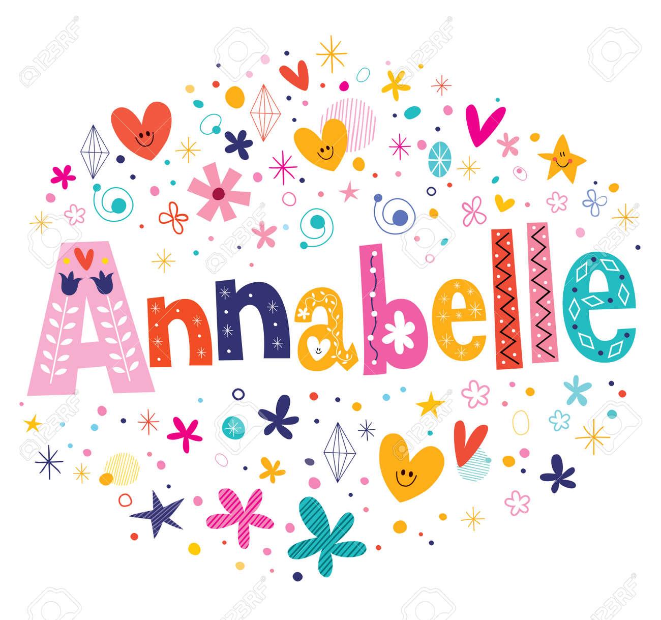 annabelle girls name decorative lettering type design stock vector 57142425