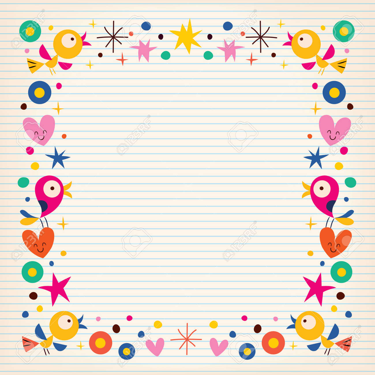 birds hearts happy border on lined paper background royalty free