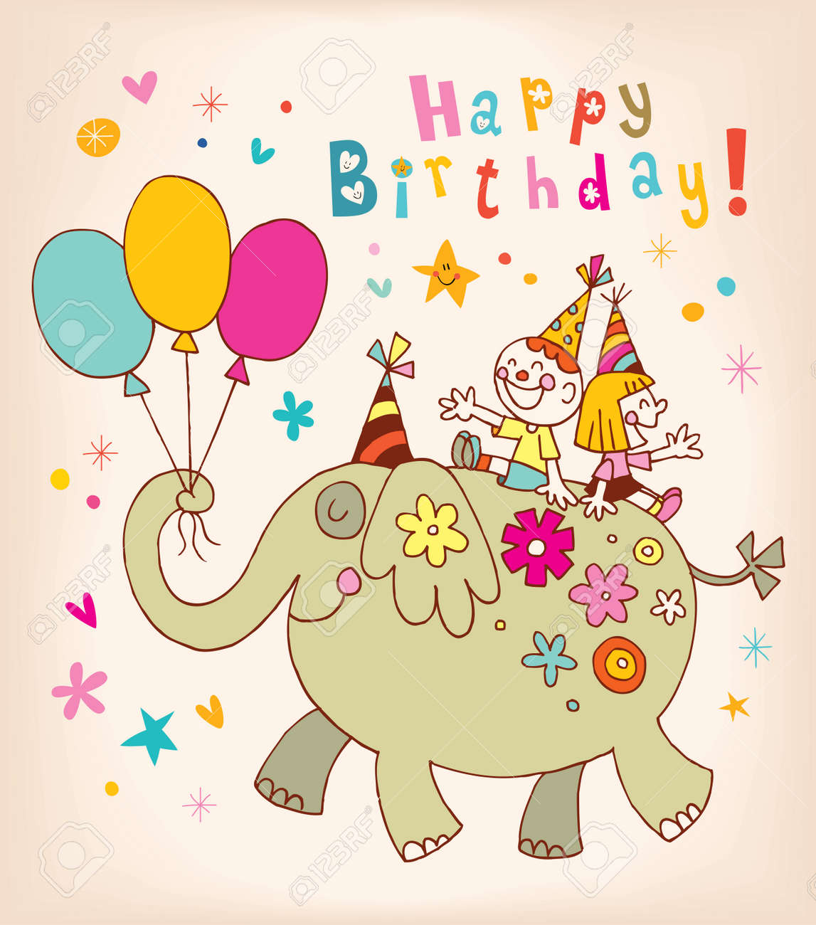 Happy birthday kids greeting card royalty free cliparts vectors happy birthday kids greeting card stock vector 56575690 bookmarktalkfo Images