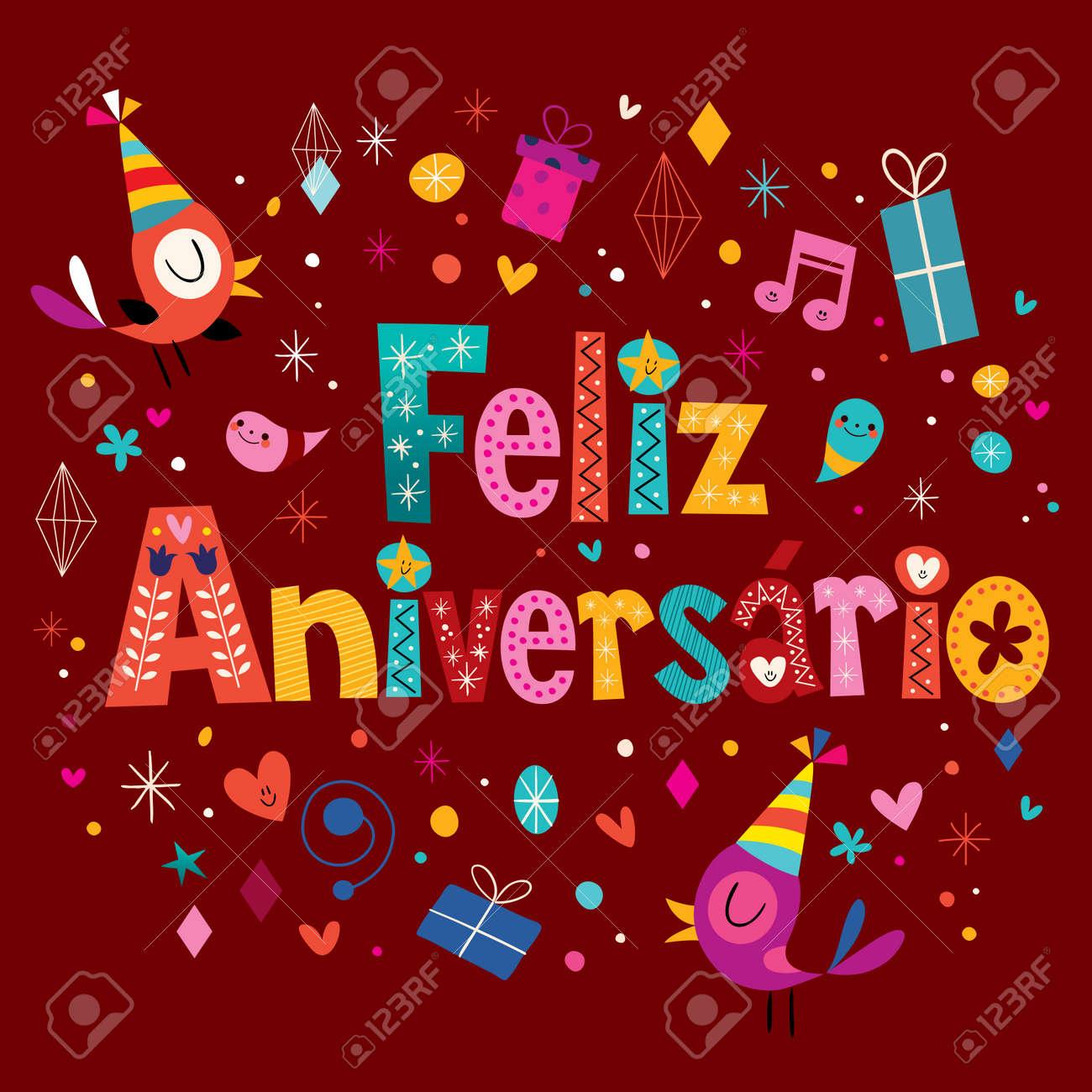 Feliz aniversario portuguese happy birthday greeting card royalty feliz aniversario portuguese happy birthday greeting card stock vector 56253016 m4hsunfo
