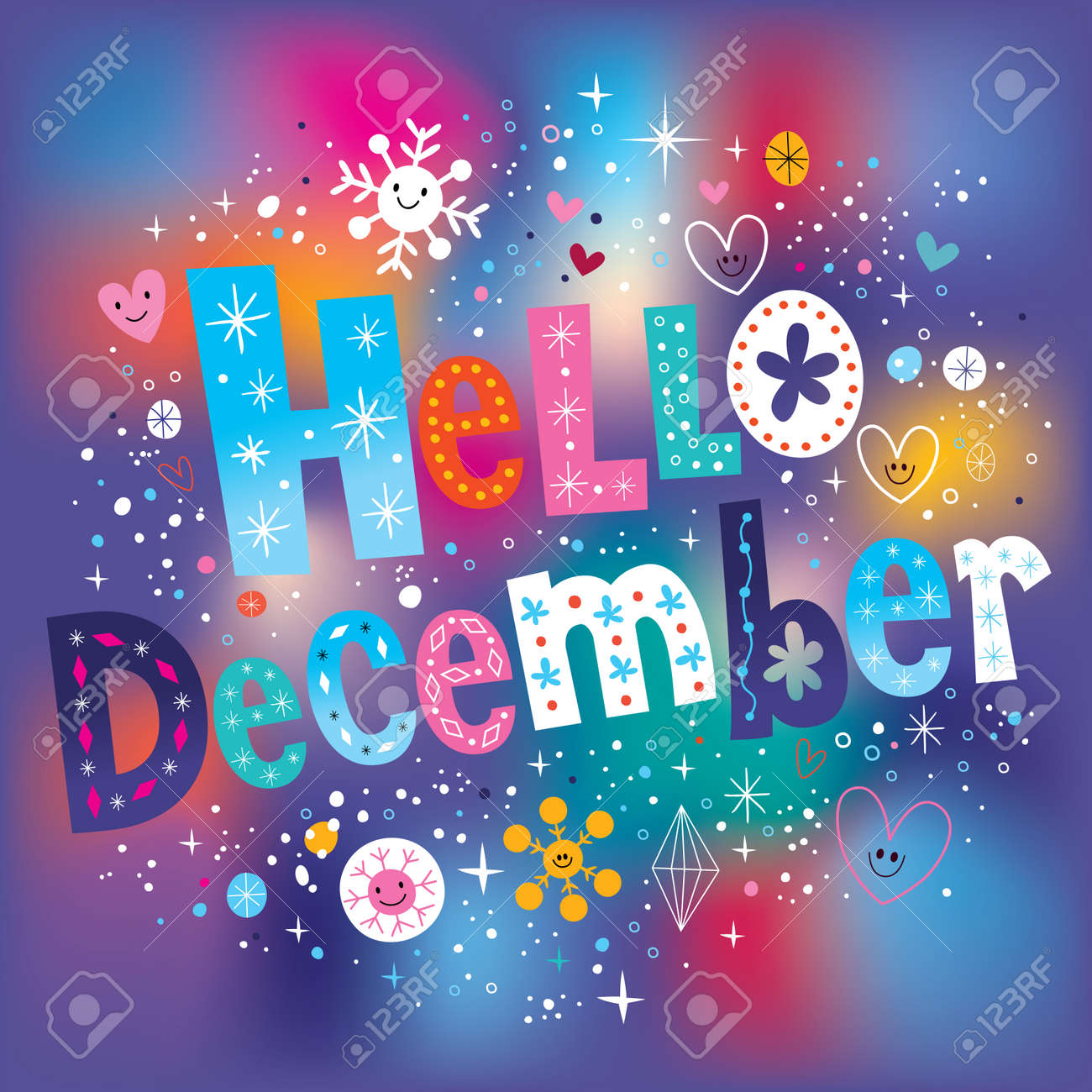 Hello December decorative type text lettering - 56254252