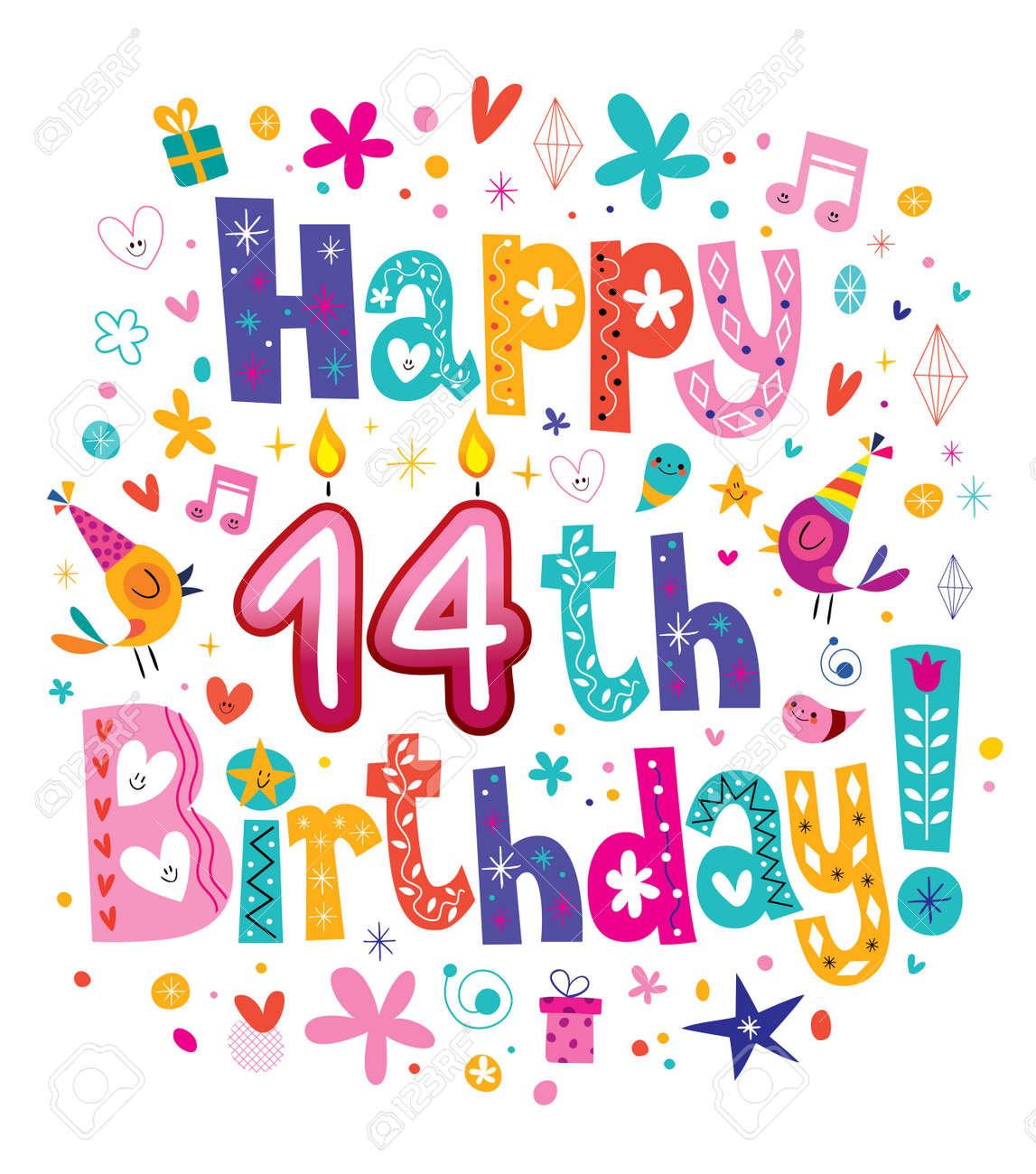 Vettoriale Buon 14 Compleanno Per Bambini Biglietto Di Auguri